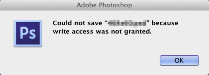 Photoshop : Write Access Not Granted